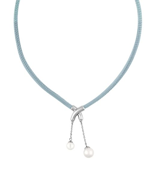 Majorica   Blue New Isla 7-9mm Pearl & Leather Necklace   Lyst