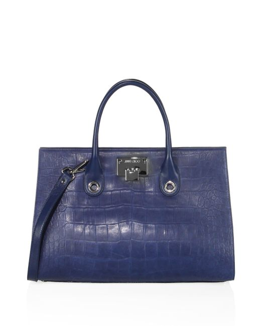 Jimmy Choo | Blue Riley Croc-embossed Satin Leather Tote | Lyst