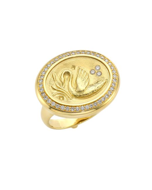Temple St. Clair - Metallic Swan Diamond & 18k Yellow Gold Coin Ring - Lyst