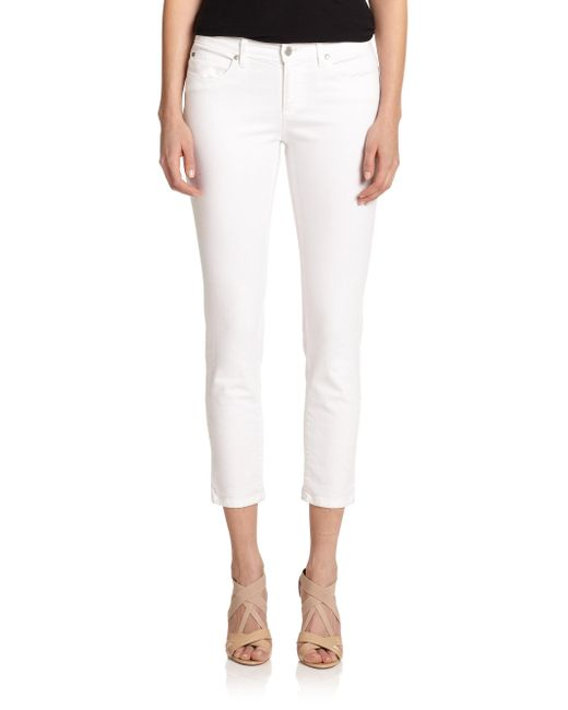 Eileen Fisher | White System Cropped Skinny Jeans | Lyst