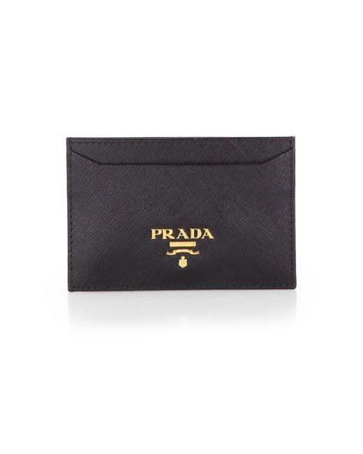 Prada | Black Saffiano Leather Card Case | Lyst