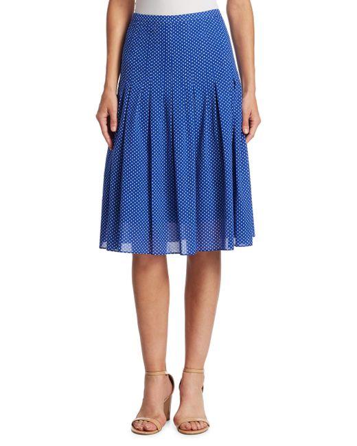 Akris Punto | Blue Pleated Polka Dot Skirt | Lyst