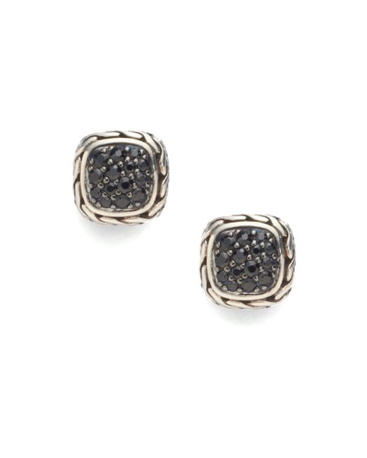 John Hardy | Metallic Classic Chain Black Sapphire & Sterling Silver Small Square Earrings | Lyst