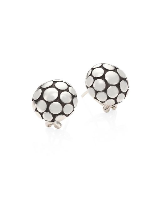 John Hardy - Metallic Dot Sterling Silver Large Button Earrings - Lyst
