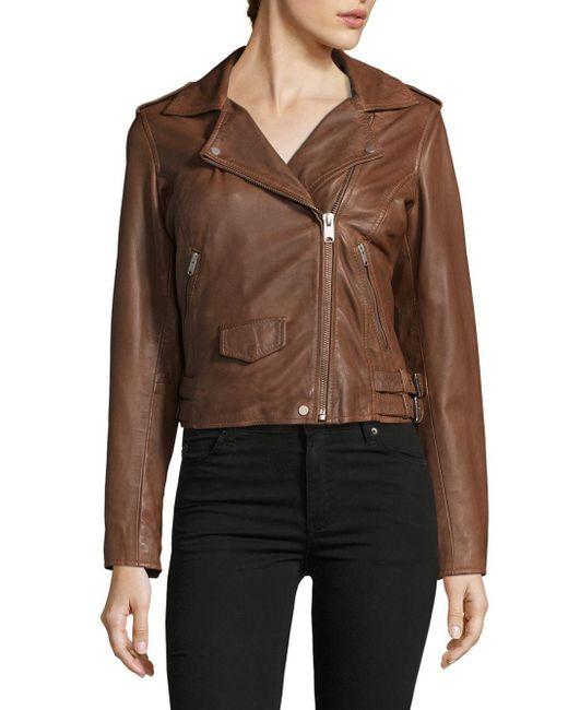 Marc New York   Brown Wesley Leather Motor Jacket   Lyst