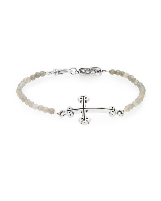 King Baby Studio - Metallic Labradorite Bead Cross Bracelet - Lyst