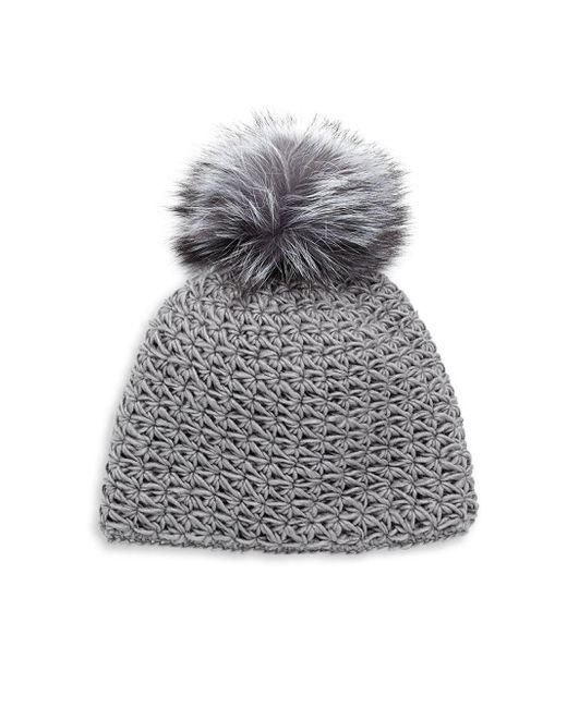 Surell - Gray Fox Fur Pom-pom Hat - Lyst