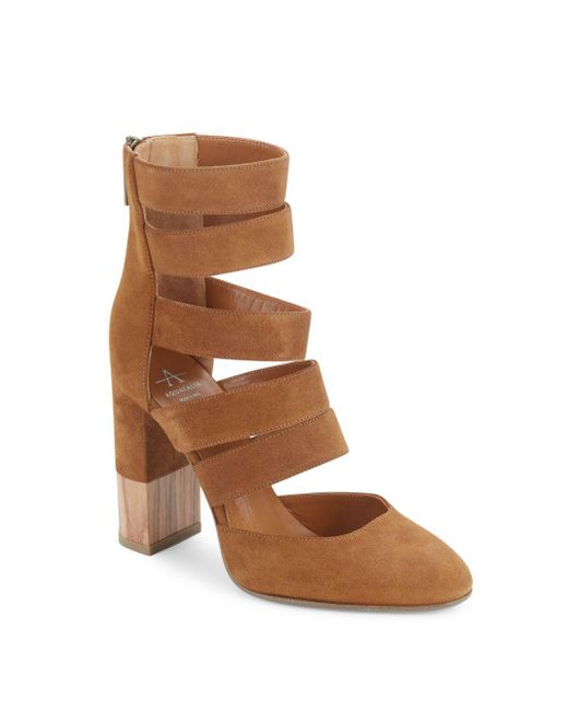Aquatalia - Brown Emme Suede Block Heel Booties - Lyst