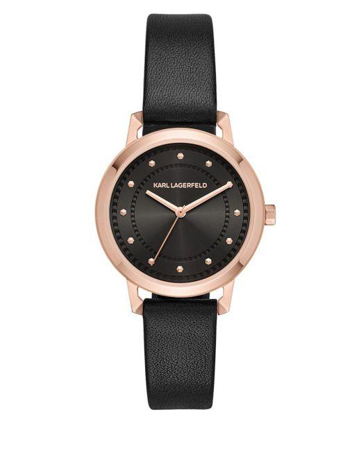 Karl Lagerfeld - Metallic Vanessa Stainless Steel Three-hand Leather-strap Watch - Lyst