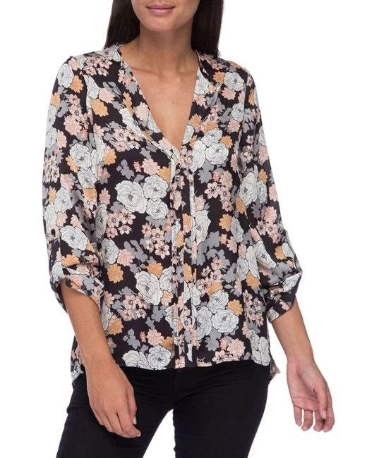 B Collection By Bobeau - Multicolor Cristy Pleat-back Floral-print Blouse - Lyst