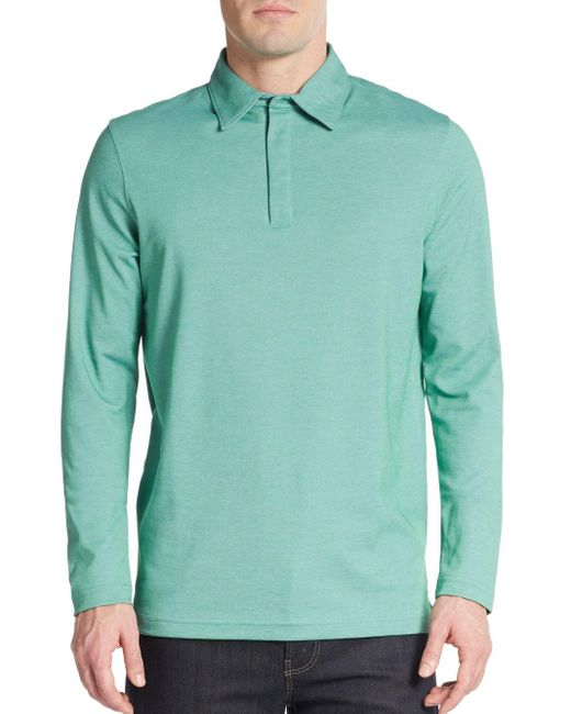Saks Fifth Avenue   Green Performance Oxford Polo for Men   Lyst