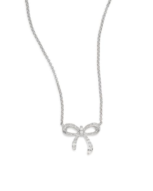Saks Fifth Avenue | 0.13 Tcw Diamond & 14k White Gold Bow Necklace | Lyst