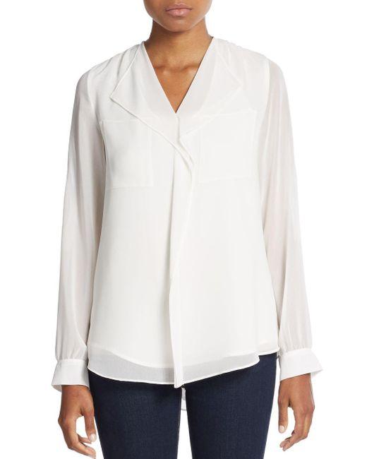 Calvin Klein | White Ruffle-front Blouse | Lyst