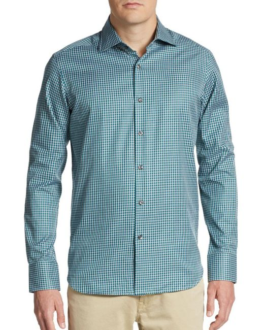 Saks Fifth Avenue | Green Regular-fit Gingham Cotton Sportshirt for Men | Lyst