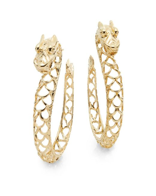 John Hardy | Metallic Naga 18k Yellow Gold Dragon Hoop Earrings | Lyst