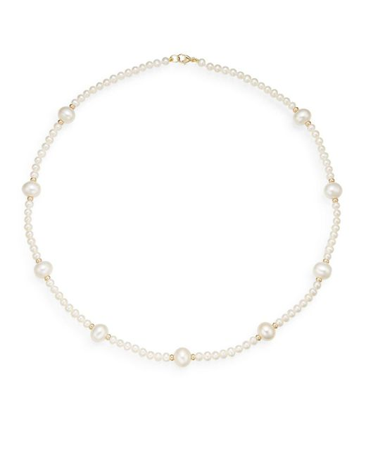Saks Fifth Avenue   Metallic 4mm-9mm White Fresh Water Pearl & 14k Yellow Gold Station Necklace   Lyst