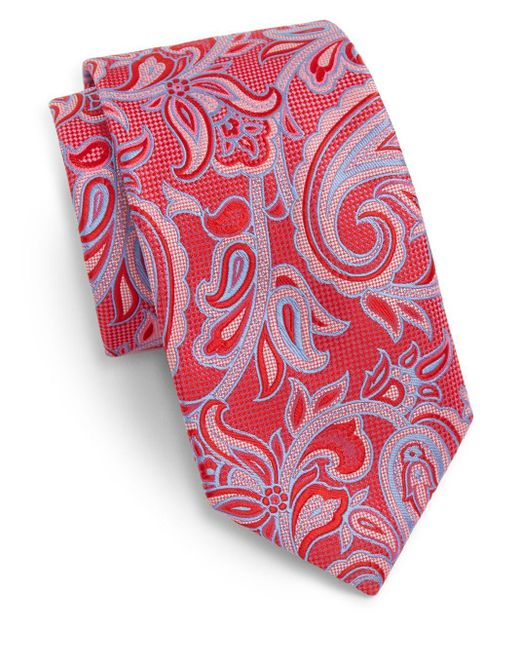 Saks Fifth Avenue | Pink Paisley Silk Tie for Men | Lyst