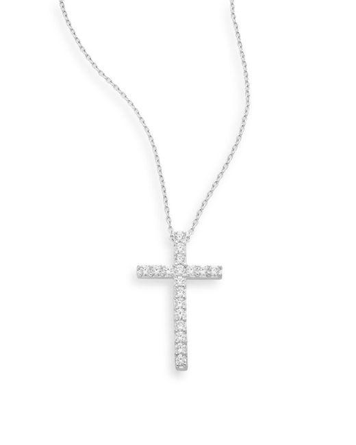 Ak Anne Klein | Metallic Sterling Silver Pavé Cross Pendant Necklace | Lyst