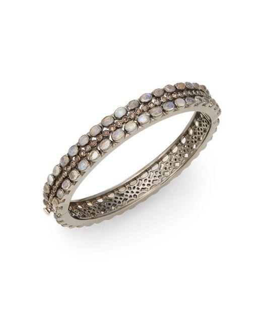 Bavna | Metallic Rainbow Moonstone, Pavé Champagne Diamond & Sterling Silver Bracelet | Lyst