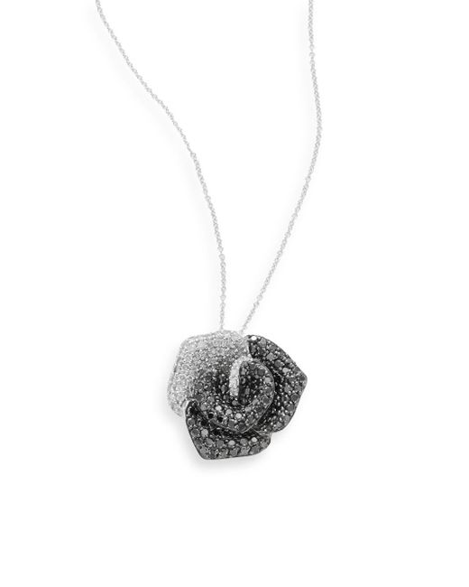 Effy | Metallic Final Call 1.99 Tcw Black Diamond, White Diamond & 14k White Gold Rose Necklace | Lyst