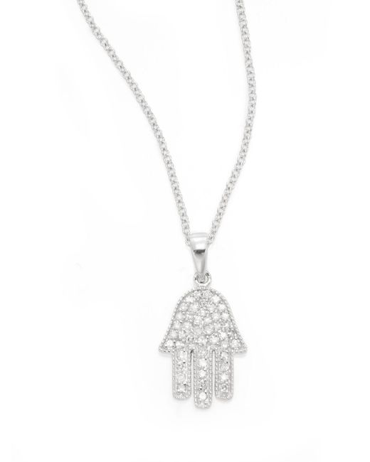 Effy | Diamond & 14k White Gold Hamsa Pendant Necklace | Lyst