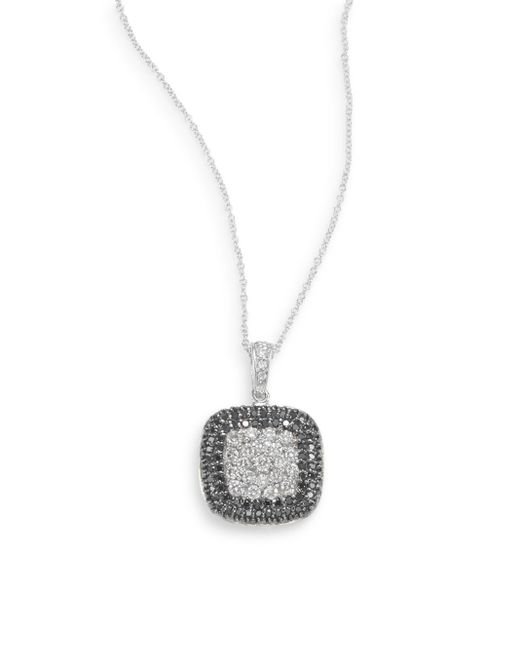 Effy | White Diamond, Black Diamond & 14k White Gold Pavà Necklace | Lyst