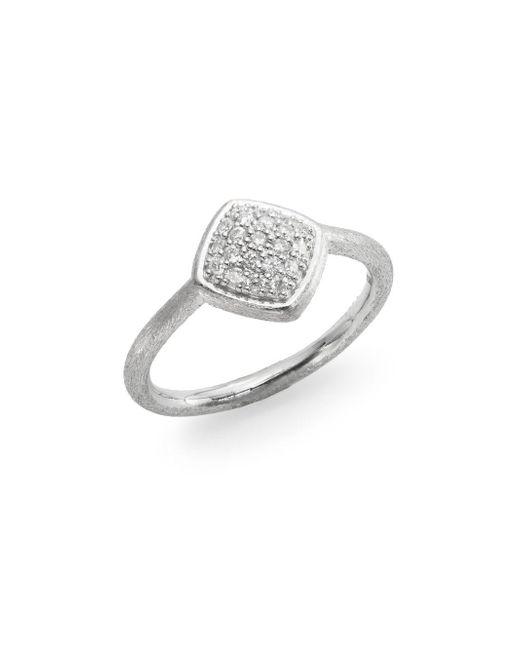 Jude Frances | Metallic Soho Diamond & Sterling Silver Pavé Cushion Ring | Lyst