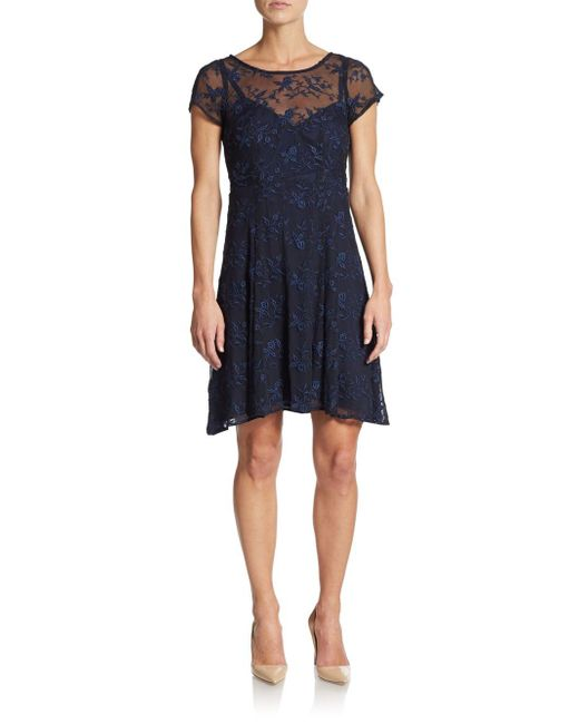 Nanette Lepore | Blue Embroidered Lace Dress | Lyst