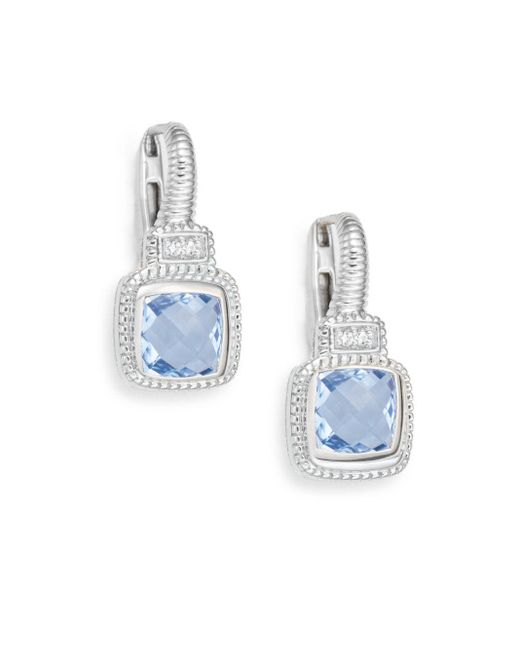 Judith Ripka | Natalie Blue Quartz, White Sapphire & Sterling Silver Cushion Drop Earrings | Lyst
