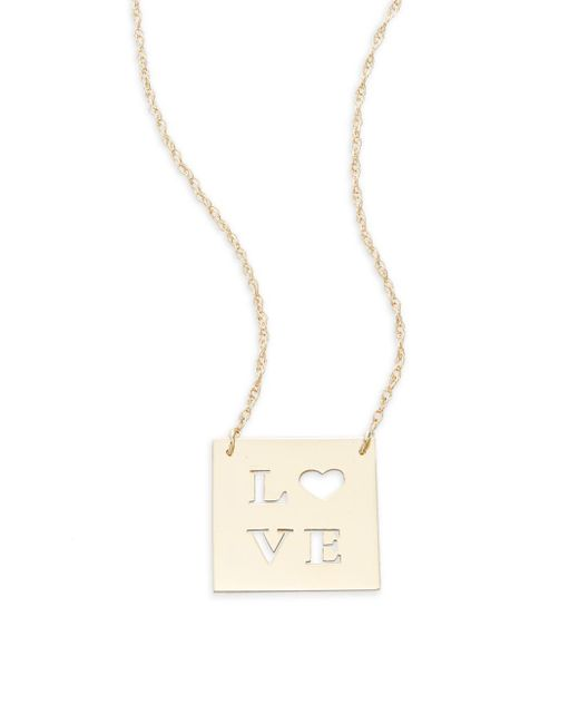 Saks Fifth Avenue | Metallic 14k Yellow Gold Love Cutout Pendant Necklace | Lyst