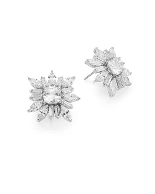 CZ by Kenneth Jay Lane | Metallic Floral Cushion Cluster Earrings | Lyst