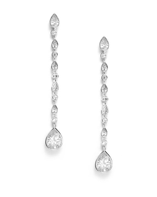 CZ by Kenneth Jay Lane | Metallic White Stone Linear Drop Earrings | Lyst