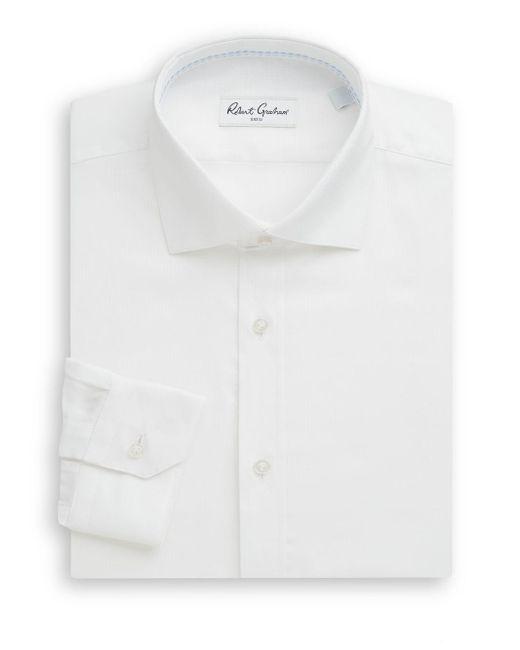 Robert Graham | White Regular-fit Chevron Stitched Cotton Dress Shirt for Men | Lyst