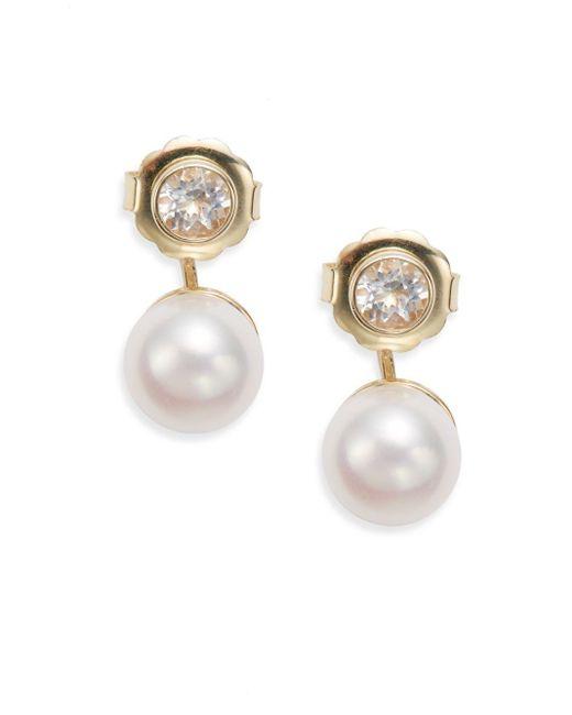 Anzie | Metallic Classique 10mm Freshwater Pearl, Topaz & 14k Yellow Gold Drop Earrings | Lyst