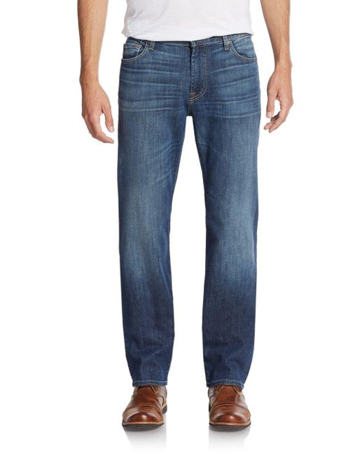 7 For All Mankind | Blue Standard Straight-leg Jeans for Men | Lyst