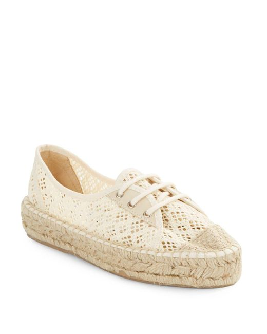 Diane von Furstenberg | Natural Tareena Crocheted Lace-up Espadrilles | Lyst