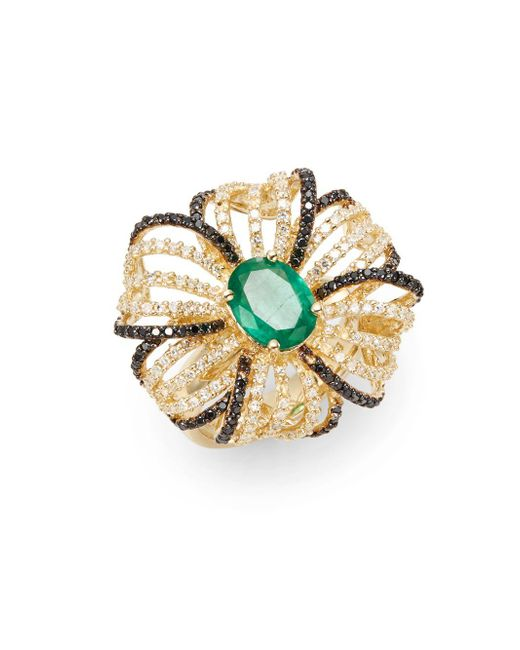 Effy | Metallic Final Call Diamond, Emerald & 14k Yellow Gold Flower Ring | Lyst