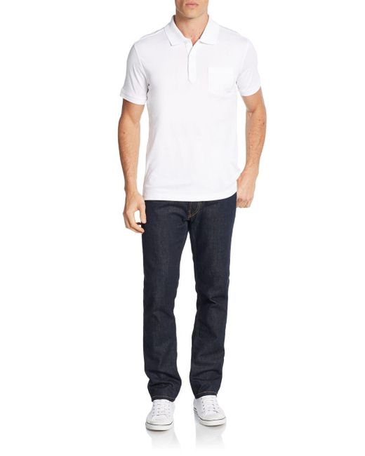 Saks Fifth Avenue | White Pocket Pima Cotton Polo Shirt for Men | Lyst
