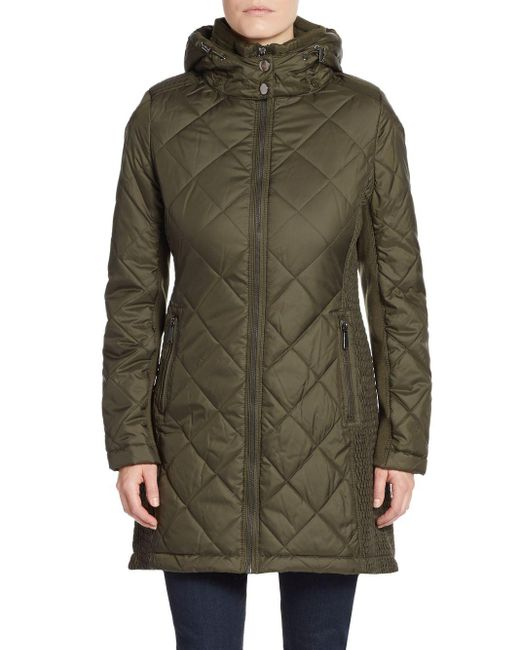 Saks Fifth Avenue | Green Diamond Quilted Parka | Lyst