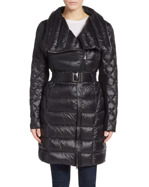 Saks Fifth Avenue | Black Packable Belted Nylon Coat | Lyst