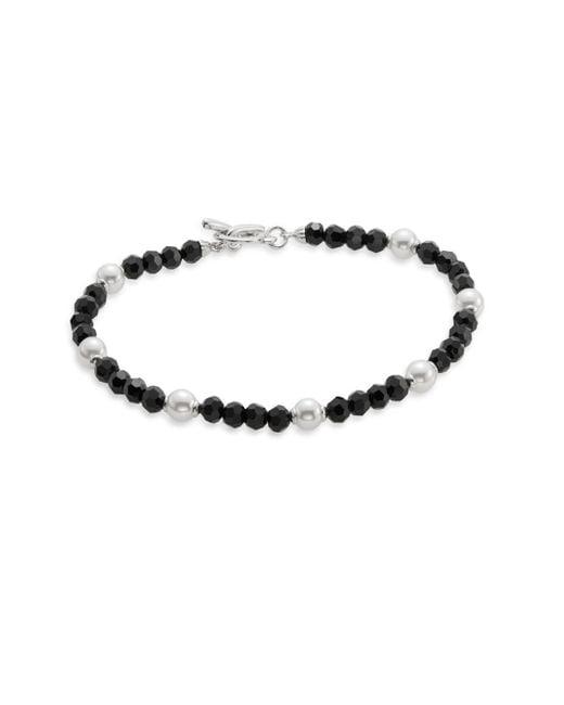 Majorica | 10mm White Pearl, Crystal & Sterling Silver Beaded Station Bracelet/black | Lyst
