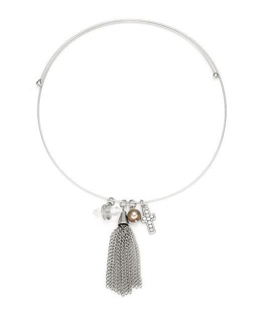 BCBGeneration | Metallic Charmed Choker Tassel Necklace | Lyst
