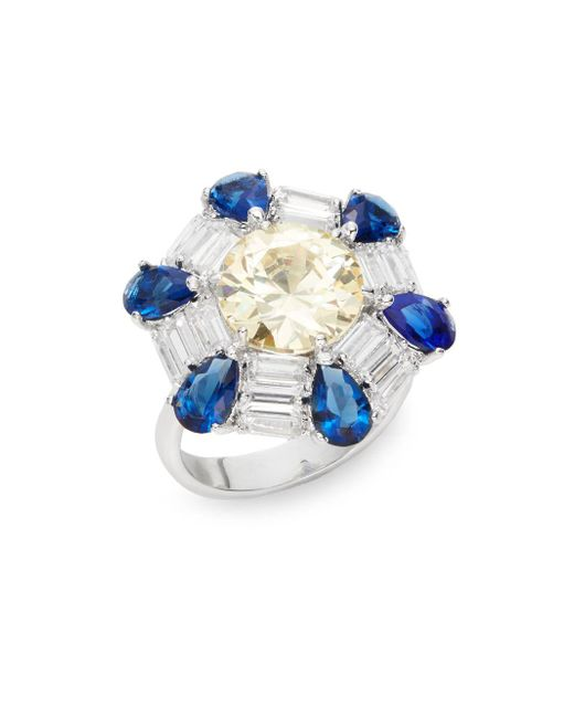 CZ by Kenneth Jay Lane | Blue Geo Stone Ring/silvertone | Lyst