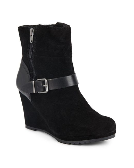 Dolce Vita | Black Pyston Suede Wedge Ankle Boots | Lyst