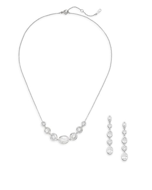 Adriana Orsini | Metallic White Stone Necklace & Earrings Gift Box Set/silvertone | Lyst