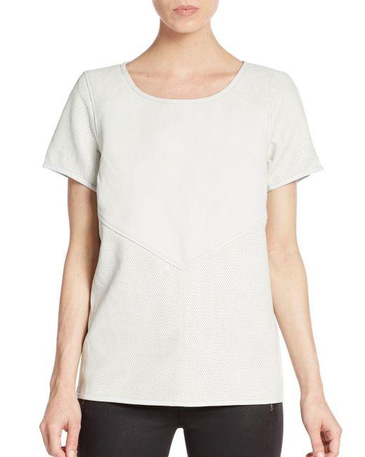Maison Scotch | Natural Perforated Paneled Leather Top | Lyst