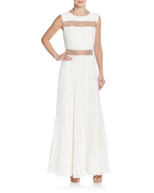 Tadashi Shoji | White Pleated Metallic Mesh-inset Gown | Lyst