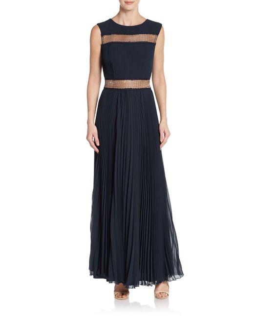 Tadashi Shoji | Blue Pleated Metallic Mesh-inset Gown | Lyst