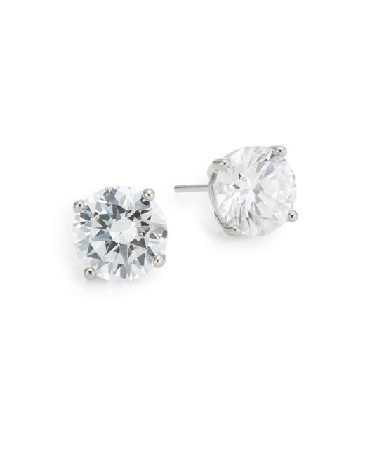 Saks Fifth Avenue | Metallic Prong-set Round Stud Earrings/silvertone | Lyst