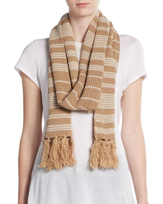 Vince Camuto | Brown Striped Knit Scarf | Lyst